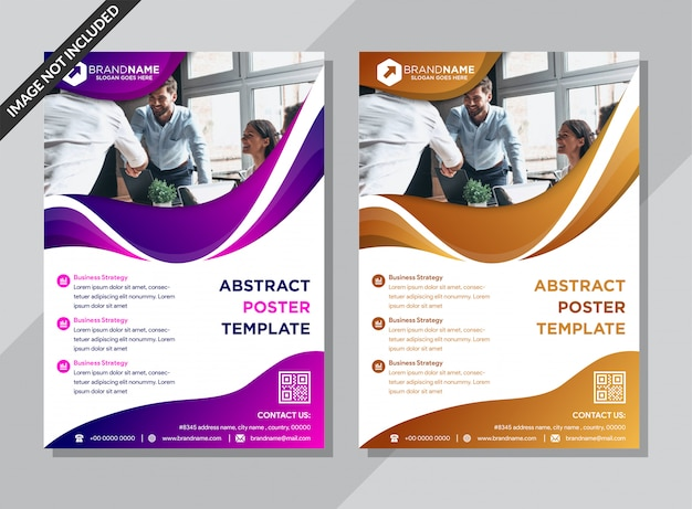 Abstract business poster template with wave shapes