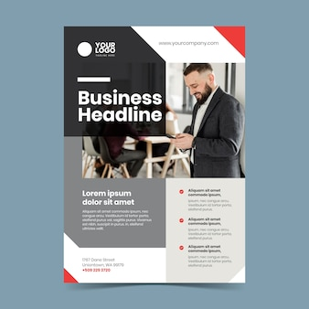 Abstract business poster with photo of man