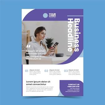 일하는 여자의 사진과 함께 추상 사업 포스터