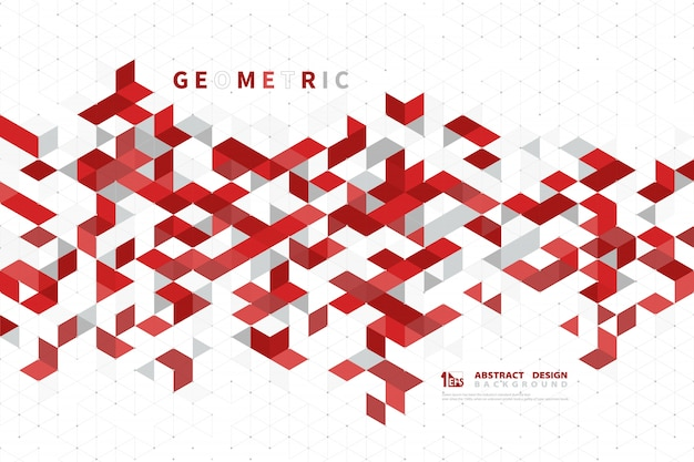 Abstract business red pattern background of modern technology square geometric .