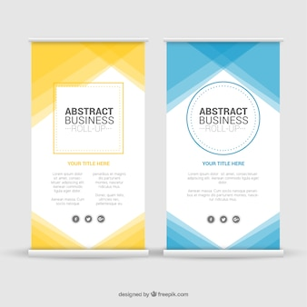 Abstract business roll up with geometric shapes