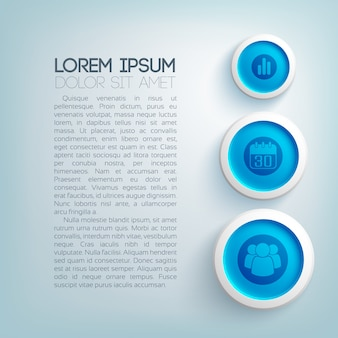 Abstract business template with text icons three blue circles on light background