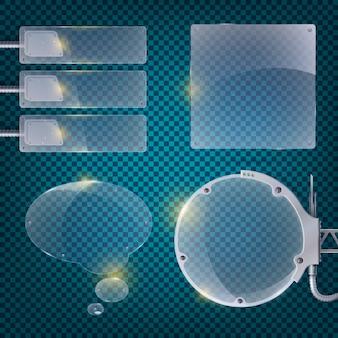 작은 파란색 사각형, 유리 캔 및 장비 그림으로 구성된 필드와 추상 비즈니스 투명 포스터