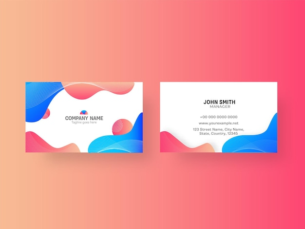 Abstract business or visiting card with double-sides present on gradient background.