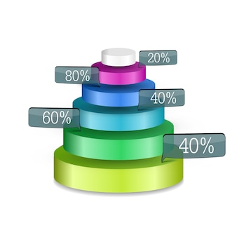 Abstract business web infographics with colorful 3d pyramid of six round rings and percent labels isolated
