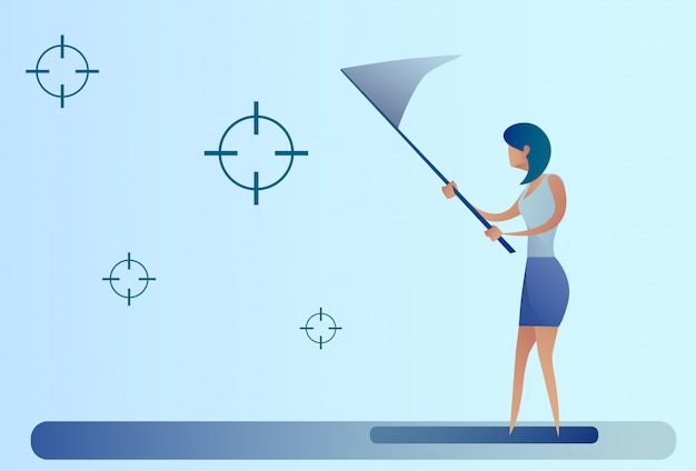 Abstract business woman catch targets with butterfly net aim goal concept