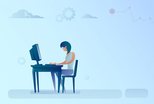 Abstract business woman sitting at office desk working computer