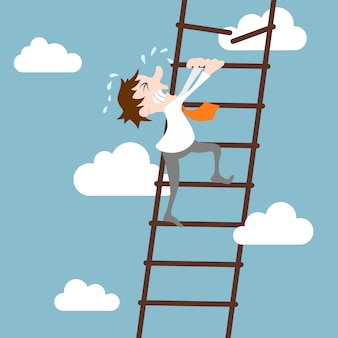 Abstract businessman character on ladder