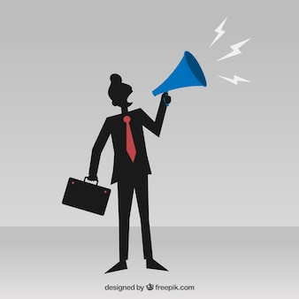 Abstract businessman with a megaphone