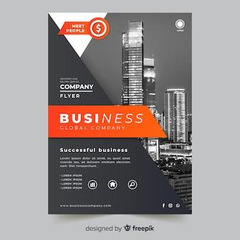 Флаер абстрактный бизнес с фото шаблон