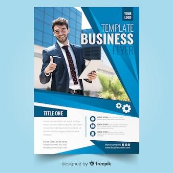 Abstract bussiness flyer with photo template
