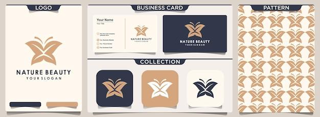 초록 나비와 잎 조합입니다. 로고, 패턴 디자인 및 명함 디자인.