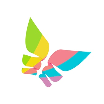 기하학적 생생한 다채로운 고립 된 로고 타입 템플릿 디자인으로 추상 나비 우아한 날개 로고