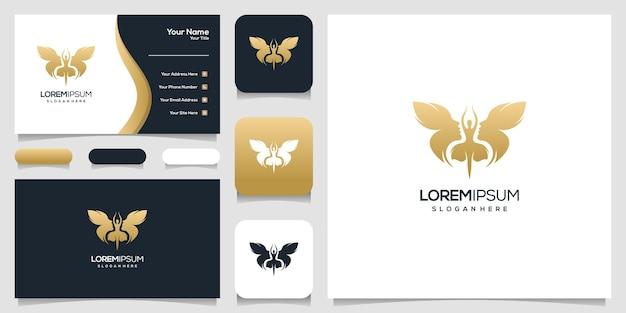抽象的な蝶の顔の人間と踊る女性のロゴのデザイン、名刺テンプレート