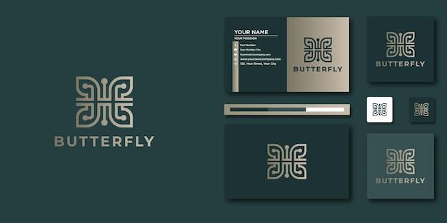 추상 나비 로고와 명함