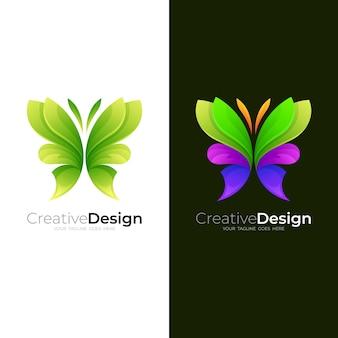 抽象的な蝶のロゴとカラフルなデザイン、3dスタイル