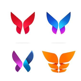 추상 나비 로고 생생한 현대 기하학적 그라데이션 꽃 스타일 로고 템플릿 디자인