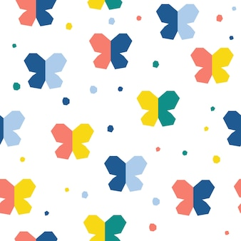 Abstract butterfly seamless pattern background. childish handmade craft for design card, invitation, book, holiday wrapping paper, textile fabric, bag print, baby nappy, diaper, t shirt etc.