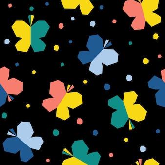 추상 나비 원활한 패턴 배경입니다. 디자인 카드, 초대장, 책, 휴일 포장지, 섬유 직물, 가방 인쇄, 아기 기저귀, 기저귀, 티셔츠 등을 위한 유치한 수제 공예