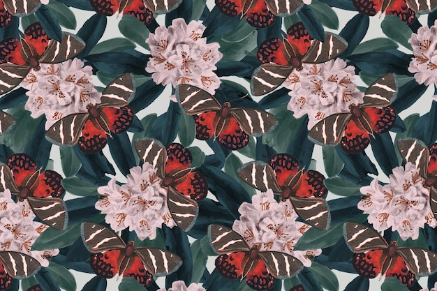 Abstract butterfly vector floral pattern, vintage remix from the naturalist's miscellany by george shaw