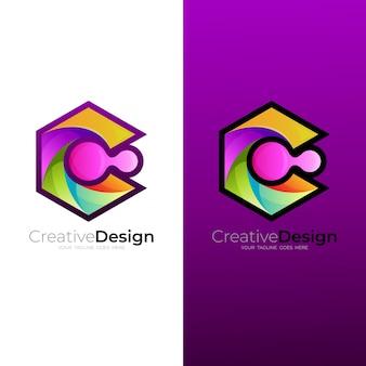 文字cのデザイン技術、カラフルなロゴと抽象的なcのロゴ