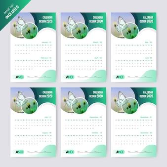 Abstract calendar 2020  template.