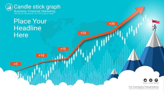抽象的な燭台と金融グラフのグラフ