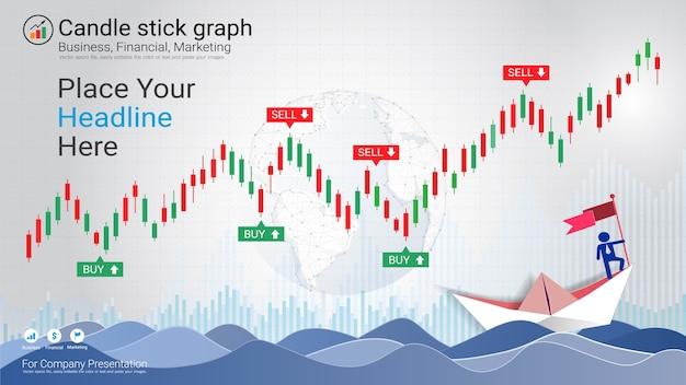 Abstract candlestick and financial graph charts