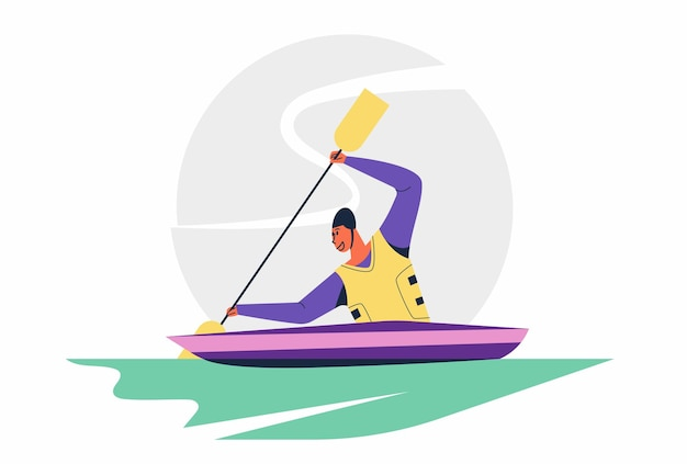 オリンピックまたはアジア競技大会での抽象的なカヌー選手パドラー男スプリントカヌースポーツ競技大会