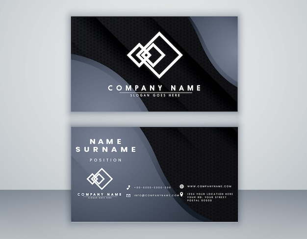 Abstract  card template black and grey color minimal