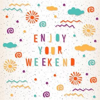 추상 카드 템플릿입니다. 디자인 카드, 초대장, 티셔츠, 책, 배너, 포스터, 스크랩북, 앨범 등을 위한 수제 편지와 요소입니다. 주말을 즐기세요.