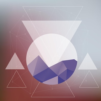 Abstract card with mountains and geometric elements on blurred backgroun