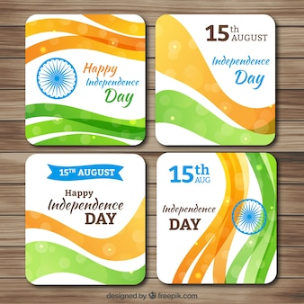 Abstract cards of india independence dat