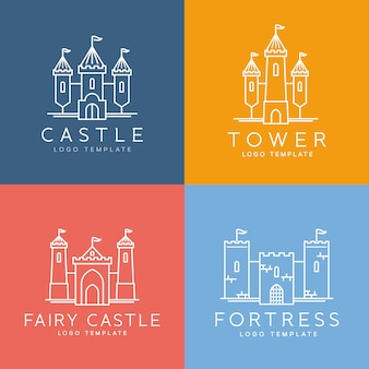 Abstract castle line style   logo template set