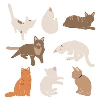 Набор абстрактных кошек, милое животное в стиле бохо, очаровательная кошка для печати, минималистичные графические элементы, иллюстрация