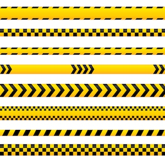 Abstract caution tape, yellow danger lines empty in different styles. could be used for police, accident, as barrier sign.  tapes collection.