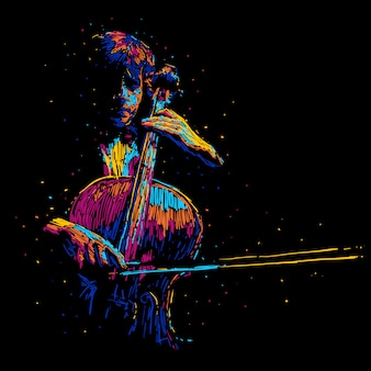Abstract cello player vector illustration music poster