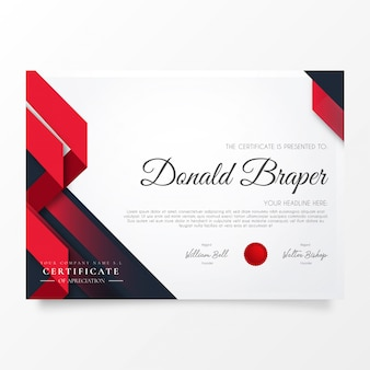Abstract certificate of appreciation with modern shapes