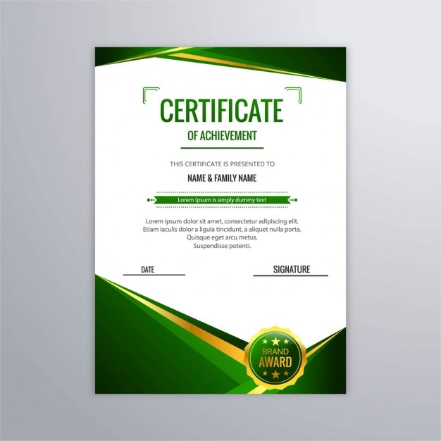 Free Abstract Certificate In Green Color Svg Dxf Eps Png