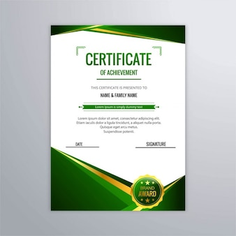 Abstract certificate in green color