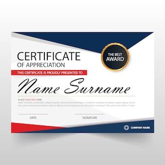 Красный синий светодиодный горизонтальный сертификат с векторной иллюстрацией