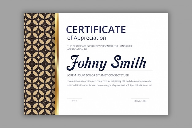 Abstract certificate template with navy batik seamless pattern