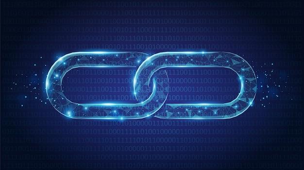 Абстрактная цепочка связывает низкополигональную, состоящую из точек, линий и фигур на синем фоне. каркасная концепция.