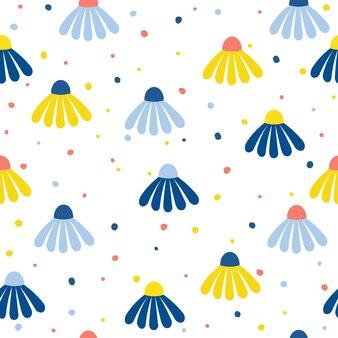 추상 카모마일 꽃 원활한 패턴 배경입니다. 디자인 카드, 벽지, 앨범, 스크랩북, 휴일 포장지, 섬유 직물, 가방 프린트, 티셔츠 등을 위한 유치한 벽지 커버.