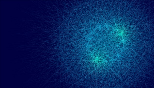 Abstract chaotic blue glowing lines background