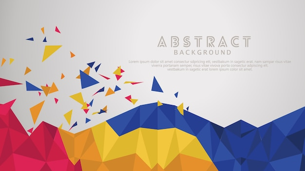 Abstract of chaotic particles, futuristic pyramids in empty space background.
