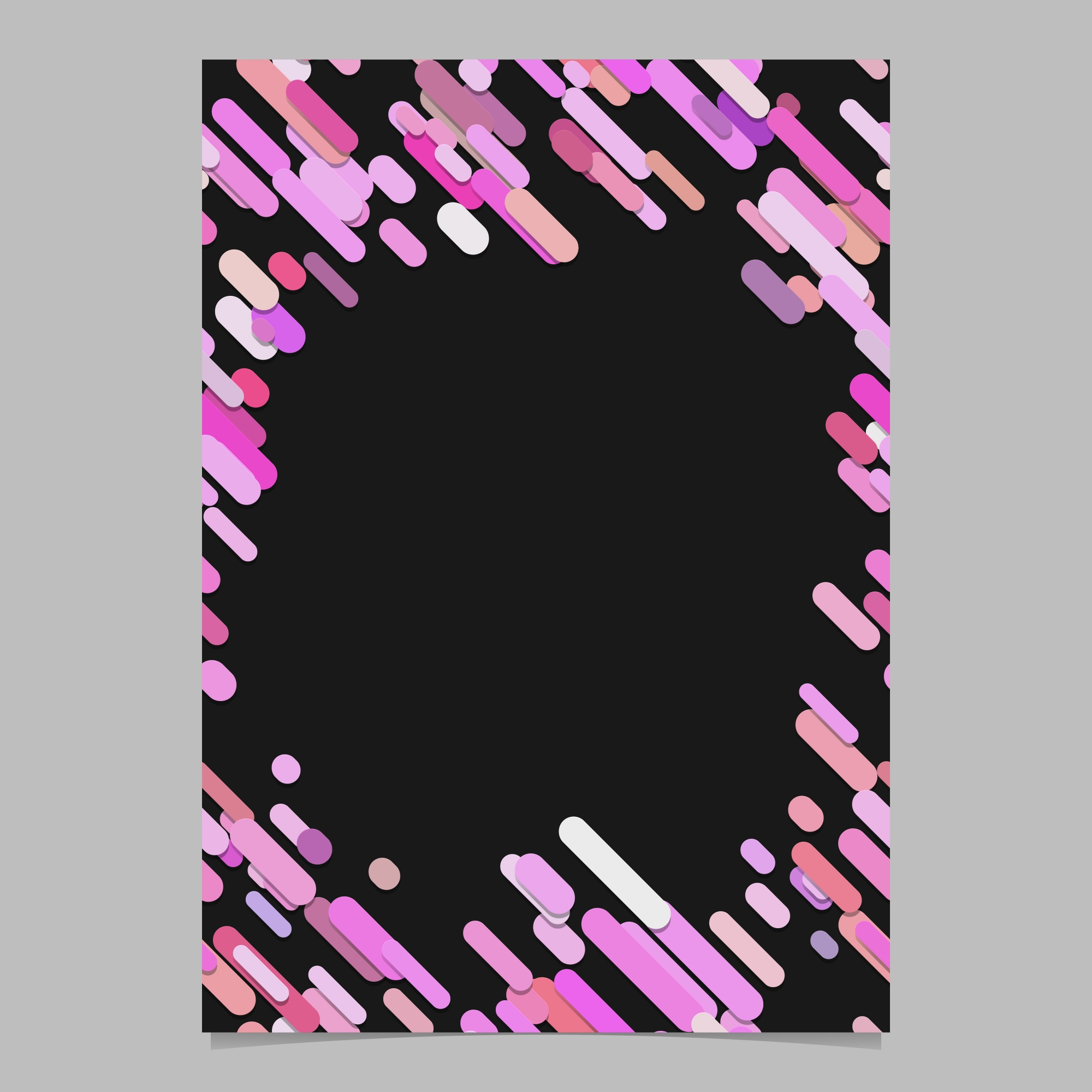 Abstract chaotic rounded diagonal stripe pattern brochure template - blank vector flyer background design from stripes in pink tones