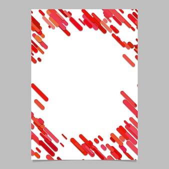 Abstract chaotic rounded diagonal stripe pattern brochure template - blank vector flyer background design from stripes in red tones