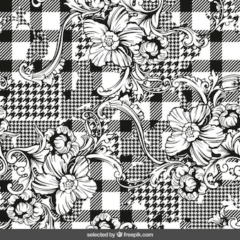 Abstract checkered background with ornaments