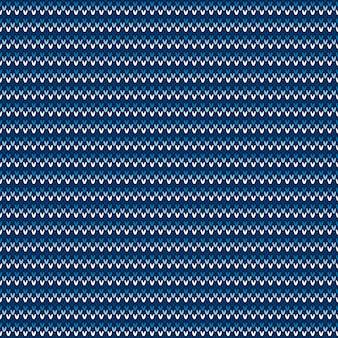 Абстрактный узор клетчатый вязаный свитер. вектор бесшовный фон с оттенками синего цвета. имитация текстуры шерсти.